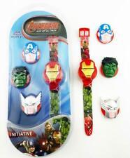 Boy Flip Top Digital Marvel Iron Man Hulk Wrist Watch Interchangeable Character