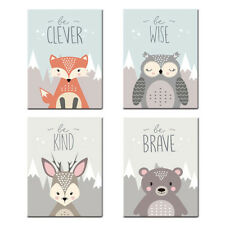 Unframed Cartoon Animal Canvas Prints Picture Painting Kids Room Wall Decor x1