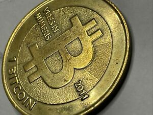 2011 V2 Casascius Brass/Physical 1 Bit Coin Peeled / Unfunded  W/Holo & Key