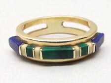 Vtg 14K Gold Lapis Lazuli Malachite Ring Sz 7.5 Inlay Stone Signed PS Southwest