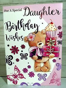 For A Special Daughter, Happy Birthday Wishes Card, Bear With Presents