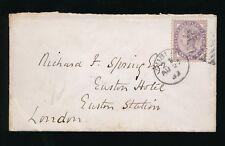 IRELAND to EUSTON RAILWAY HOTEL 1893 ENVELOPE to RICHARD SPRING
