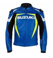 Suzuki Leather Jacket with safety Hump Blue Black XS to 6XL Fine Quality Leather