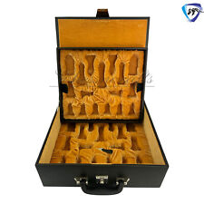 """Leather Storage Box For Chess Pieces-Coffer with Tray King: 4.2"""" - 4.5"""" Black."""