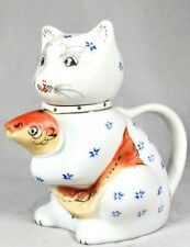 Vintage Chinese Hand Painted Glazed Porcelain Floral Cat & Koi Fish Creamer.