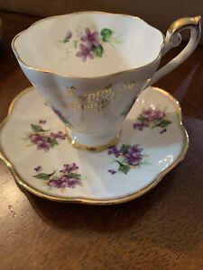 Royal Standard Tea Cup & Salisbury Saucer BoneChinaViolets Happy Anniversary Eng