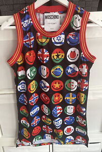 Men's Moschino Couture ! Sleeveless Multicoloured Smiley T Shirt Tank Top Size S