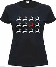 Damen T-Shirt - RENTIERE - Schwarz/Weiss/Rot - weihnachten xmas girly shirt