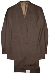 $6400 NEW BRIONI BROWN STRIPE 180'S WOOL HAND MADE SUIT ITALY EU 52 42L 42 L
