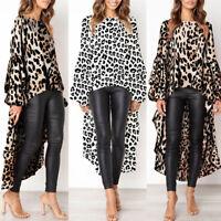 Stylish Womens Leopard Print Shirt Dress Tops Ladies Autumn Asymmetric Dress