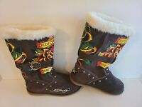 Don Ed Hardy Designs Womens Size 6 Sherpa Lined Brown Leather Suede Boots New