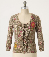 Anthropologie SPARROW Purrfect Posy cardigan sweater S floral animal print