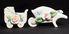 Occupied Japan Ceramic Minature Baby Buggy Carriage and Wheel Barrow