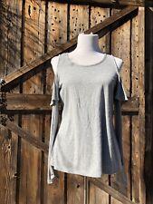 NWT Michael Kors Gray Ribbed Pearl Heather Gray Long Sleeve Knit Top
