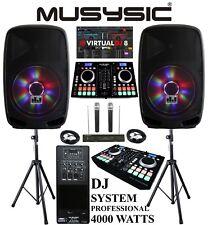 """Complete Professional 4000W DJ System Dual CD MIDI BT 15"""" Speakers Wireless Mics"""