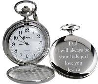 Personalised Engraved Gift Pocket Watch Valentines Day Wedding Best Man Usher
