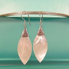 "1 3/4"" Mother of Pearl Shell Pure 925 Bali Sterling Silver Handmade Drop Earring"