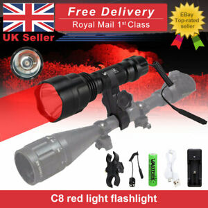 Hunting 10000LM Lamp Red Scope Mount Gun Light Lamping Air Rifle Torch Battery