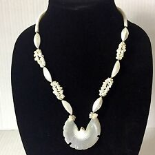 Vintage Dove Pendant Necklace White Bird Carved Shell Heishi Bead Stacked Choker