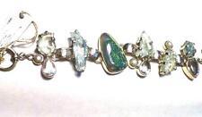 High End Aqua Marine Druzy .925 STERLING SILVER Designer Statement Bracelet