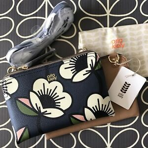 Genuine ORLA KIELY Passion Flower Textured Vinyl Double Poppy Navy Bag NEW