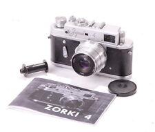 Zorki-4 Glossy Black LEICA L39 LTM Camera I-26M Lens USSR CLA WARRANTY MANUAL