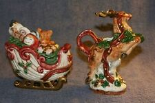 VINTAGE FRITZ & FLOYD SUGAR AND CREAMER-SANTA'S SLEIGH AND REINDEER