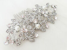 FLEUR Silver Bridal Hair Comb, Sparkly, Rhinestone, Pearl, Vintage Slide