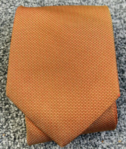 Mens Marks and Spencer 100% silk orange patterned smart classic tie