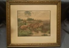 Sheep,Lamb,Shepherd,In Pasture,Vtg,Farm Scene,Antique,Art,Hand Colored Print,