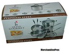 12 PC PROFESSIONAL STAINLESS STEEL COOKWARE PAN SET & CHEF'S KNIFE BUNDLE  NEW!