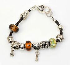Lederarmband geflochten Beads Charms Leder Armband  Leather Bracelet