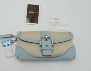 Coach Leather Vintage Soho Twill Baby Blue Silver  Flap Snap Wristlet Wallet NEW
