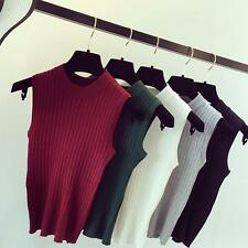 Women's Plain High Neck Knitted Sleeveless Vest Top Sweater Pullover Casual JJ