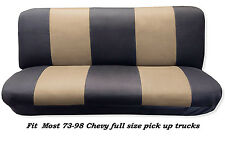 Mesh Black/Tan FULL SIZE BENCH Seat Cover,Fit Most 73-99 Chevy F/S P/U Trucks.