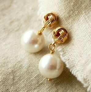 Real 14k Gold Plated over 925 Sterling Silver Knot Pearl Earrings Bridal Jewelry