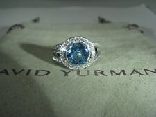 AUTHENTIC DAVID YURMAN SIL. PETIT ALBION 8MM BLUE TOPAZ PAVE DIAMOND RING SIZE 6