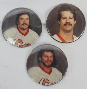 3 Vtg Saginaw Gears Hockey Team Players Pins Buttons 70s 80s IHL Michigan