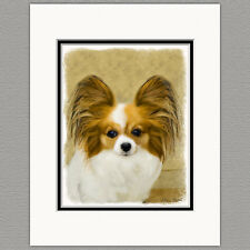 Papillon Dog Original Art Print 8x10 Matted to 11x14