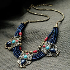 Gypsy Ethnic Tribal Turkish Boho Beaded Gem Totem Bronze Choker Necklace