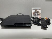 SONY PLAYSTATION 3 SLIM 120GB CECH-2001A W/ CONTROLLER & CABLES + REMOTE + Game