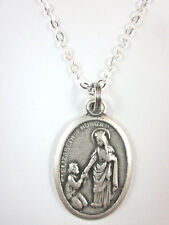"""St Elizabeth of Hungary Medal Italy Necklace 20"""" Chain Gift Box & Prayer Card"""