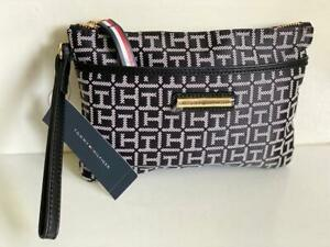 NEW! TOMMY HILFIGER BLACK NATURAL WALLET CLUTCH BAG POUCH WRISTLET $49 SALE