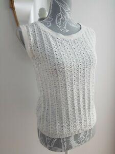 Vintage 1960s Mod Acrilan Tank Vest Top White Metallic Silver Thread Retro sz 10