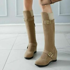 Womens Wedge Heel Faux Suede Buckle Riding Outdoor Comfort Shoes Knee High Boots