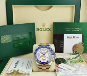 ROLEX 2021 44mm Rose Gold & SS YachtMaster II Mercedes Hands 116681 SANT BLANC