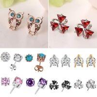Women Cubic Zirconia CZ Animal Owl Ear Stud Earrings Wedding Jewelry Gift New