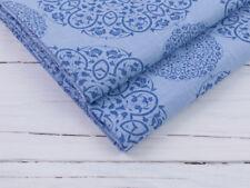 0,5 m Mandala Leinen Stoff bedruckt, Vorgewaschen,  Hellblau, Blau