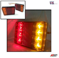 2X 12V 8 LED TRAILER TRUCK BUS VAN STOP REAR TAIL INDICATOR LIGHTS REVERSE LAMPS