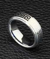 8MM Tungsten Carbide Men's Wedding Bands Rings Laser Engraving Size 8-12